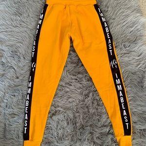 IMMABEAST yellow and black sweatpants